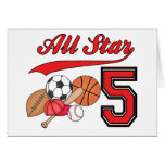 All Star Sports 5th Birthday Invitations Cards