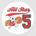 All Star Sports 5th Birthday Round Sticker
