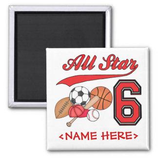 All Star Sports 6th Birthday Magnet