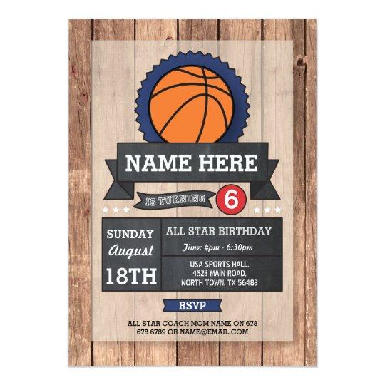 All Star Sports Party BasketBall Birthday Invite