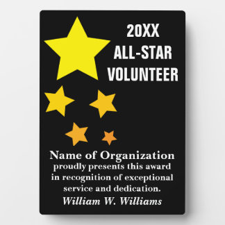 All-Star Volunteer Service Recognition Award Photo Plaques