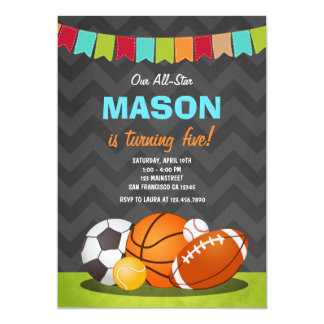All Stars birthday Boy Birthday invitation Sports