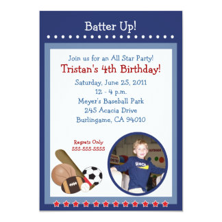 ALL STARS SPORTS FAN 5x7 Birthday Invitation