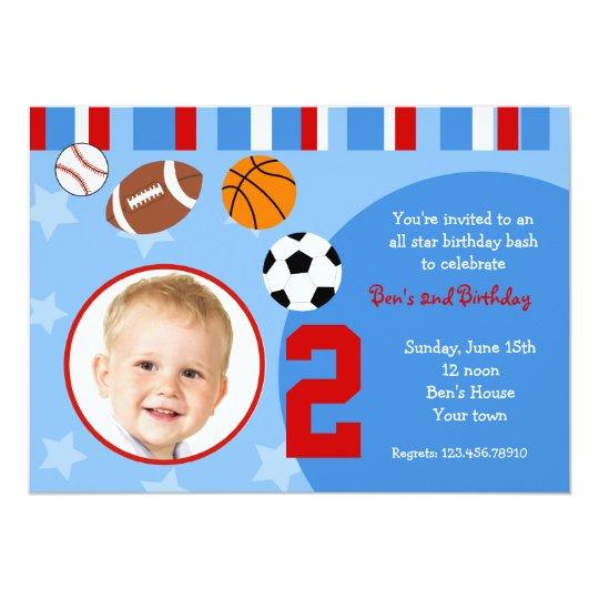 All Stars Sports Photo Birthday Invitations
