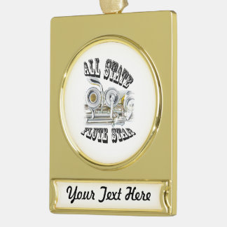 All State Flute Player Ornament Jewelry ANY COLOR Gold Plated Banner Ornament