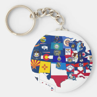 All States Flags United Basic Round Button Key Ring