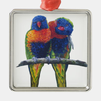 All the colors of the Rainbow Lorikeets Christmas Ornament