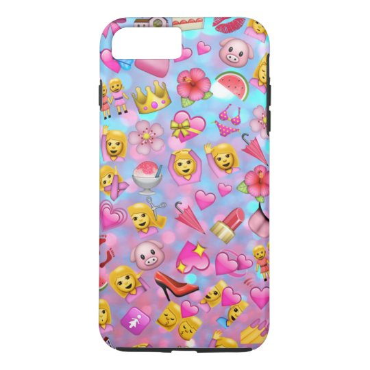 All the Pink Girl Emojis Collage Pattern iPhone