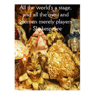 All the world's a stage Shakespeare quote Postcard