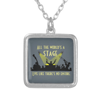 All the World's a Stage Square Pendant Necklace