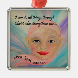 All Things Even Cancer Silver-Colored Square Decoration