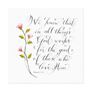 All things for good inspirational typography verse canvas print