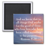 all things God works for the good bible verse Fridge Magnet