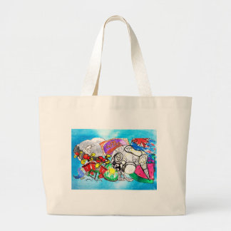 """All things Kiwi"" created from a child's drawings Large Tote Bag"