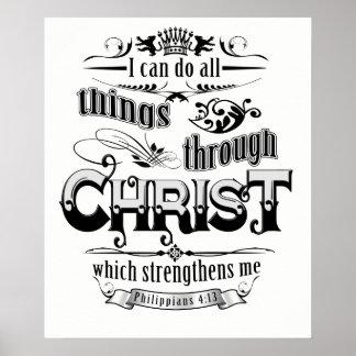 All Things Through Christ Christian Gospel T Shirt Poster