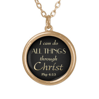 All Things Through Christ Gold Christian Round Pendant Necklace