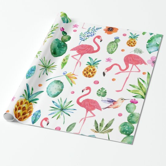 All Things Tropical Flowers Plants & Birds Wrapping