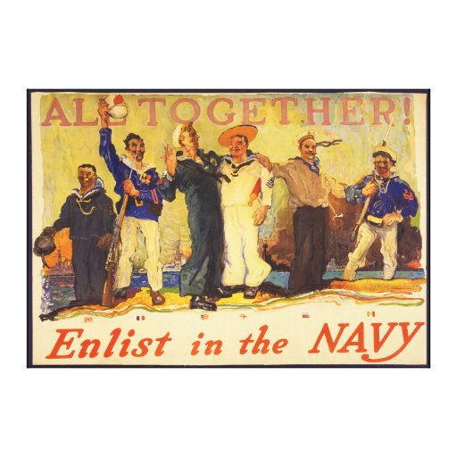 All Together! Enlist in the Navy World War 1 1917 Stretched Canvas Print