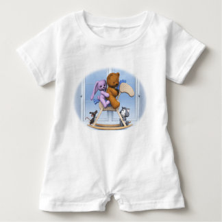 All together on the rocking horse baby bodysuit