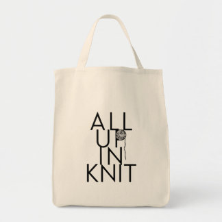 All Up In Knit grocery tote for knitters