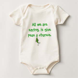 All we are saying, is give peas a chance. baby bodysuit