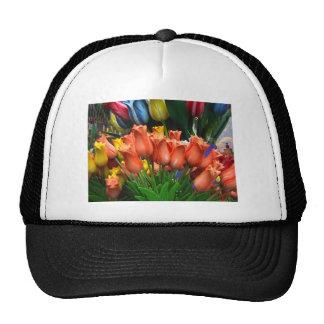 All weather tulips trucker hat