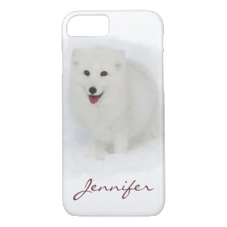All White Arctic Fox Watercolor Painting iPhone 8/7 Case