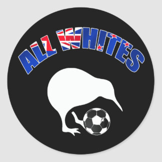 All Whites Kiwi Soccer team fans football gifts Round Sticker