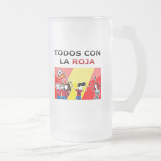 All with the red one! frosted glass beer mug