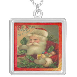 All Xmas Joys Be Thine Square Pendant Necklace