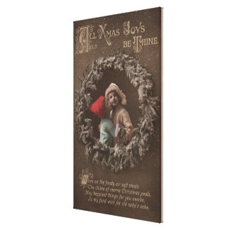All XMAS Joys Be ThineLittle Kids Kissing Stretched Canvas Prints