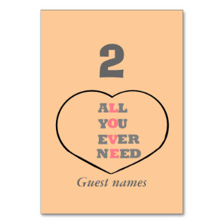 All You Ever Need Love, in a heart, Place holders Table Card