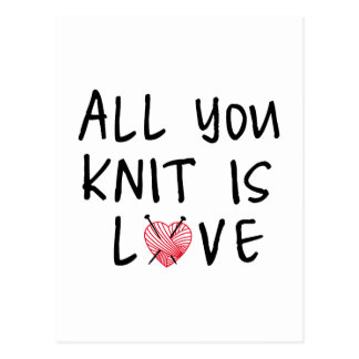 All you knit is love with heart shaped red yarn postcard