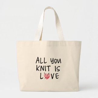 All you knit is love with heart shaped red yarn canvas bags
