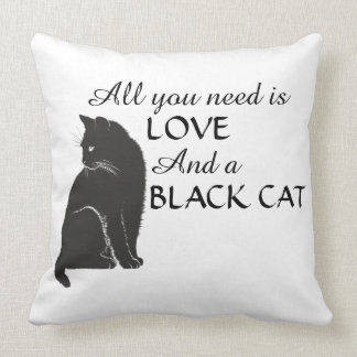 All you need is LOVE and a BLACK CAT Black & White Cushion