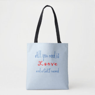 All you need is love and a cat named... tote bag