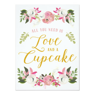 All you need is love and a cupcake sign card