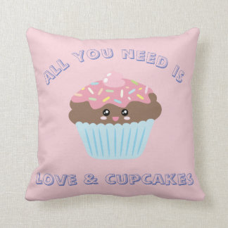 All You Need Is Love And Cupcakes Pastel Colors Cushion
