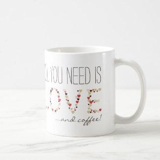 All you need is Love & Coffee, hearts cute mug |