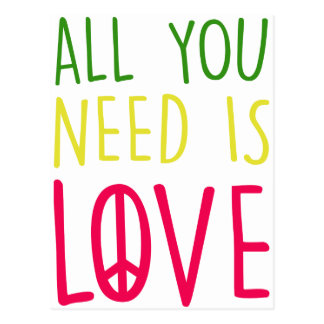 All You Need Is Love Fun Rasta Peace Sign Graphic Postcard