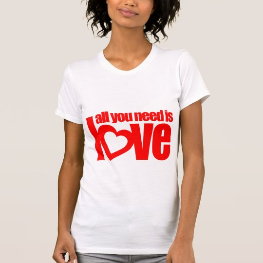 All you need is love red heart text white top