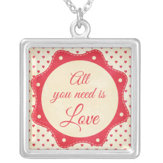 All you need is love square pendant necklace