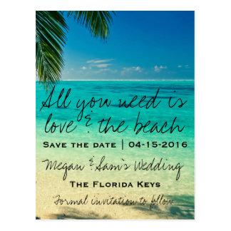 All You Need Is Love & The Beach Save the Date Postcard