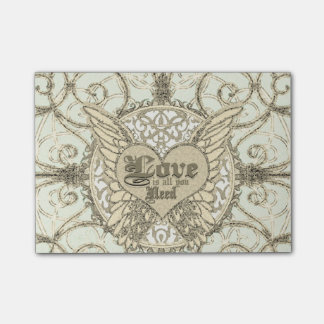 All You Need is Love with Angel Wings & Heart Post-it Notes
