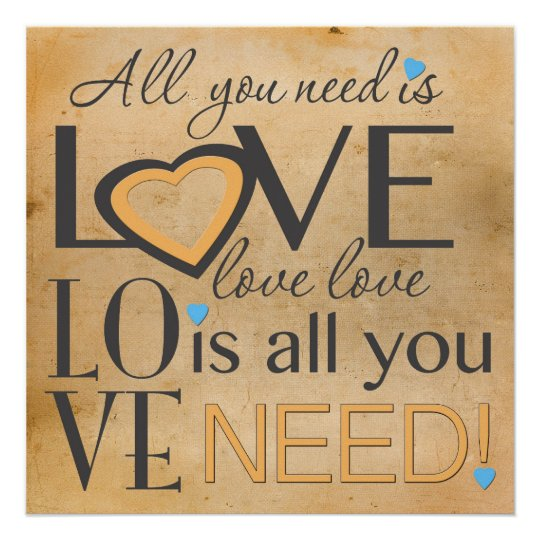 All you need is Love Word Art Vintage Poster