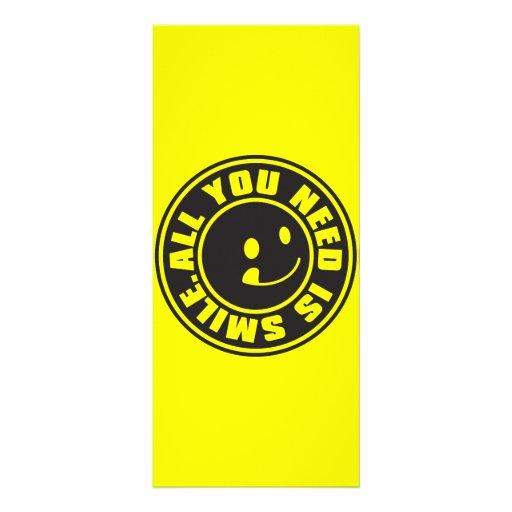 ALL YOU NEED IS SMILE. CUSTOM RACK CARD