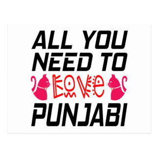 All You Need To Love Punjabi Cat Postcard