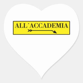 All'Accademia, Venice, Italian Street Sign Heart Sticker