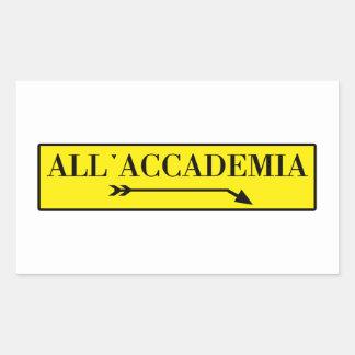 All'Accademia, Venice, Italian Street Sign Rectangular Sticker