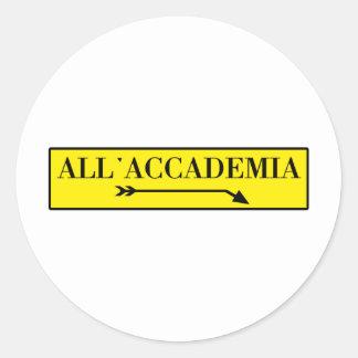 All'Accademia, Venice, Italian Street Sign Round Sticker